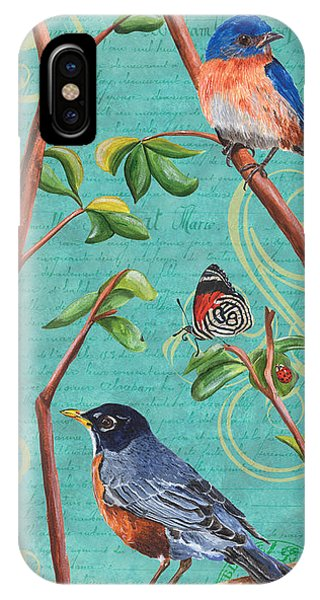 Bluebird iPhone Case - Verdigris Songbirds 1 by Debbie DeWitt