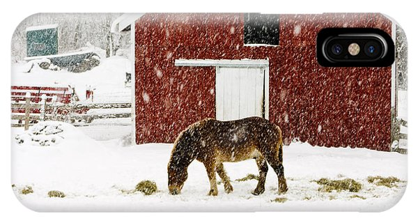 Exterior iPhone Case - Vermont Christmas Eve Snowstorm by Edward Fielding