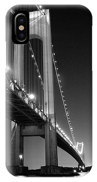 Verrazano Bridge At Night - Black And White IPhone Case