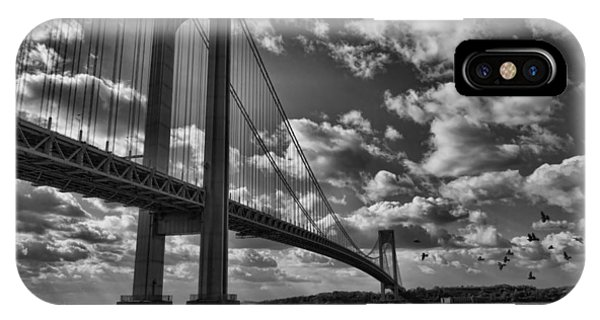 Verrazano Narrows Bridge In Bw IPhone Case
