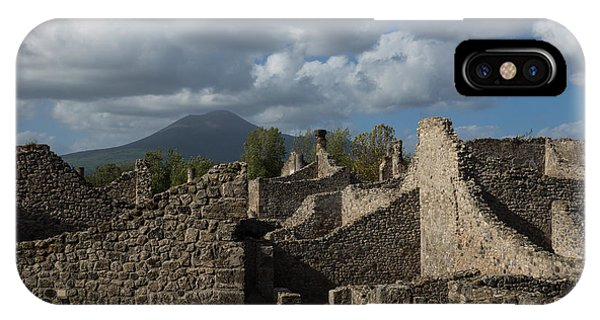 Vesuvius Towering Over The Pompeii Ruins IPhone Case