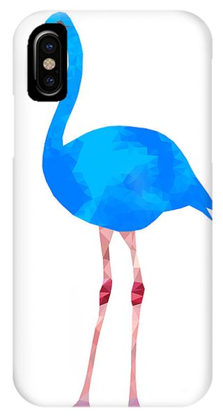 Triangles iPhone Case - Vibrant Dark Blue Flamingo Bird Low by Samantha Jo