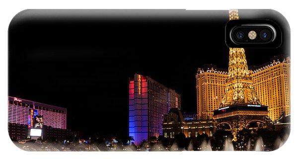 Vibrant Las Vegas - Bellagio's Fountains Paris Bally's And Flamingo IPhone Case