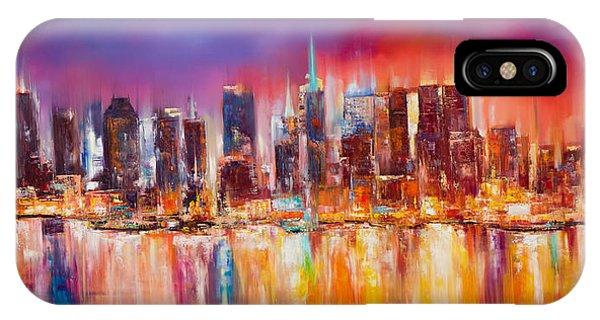 Manhattan Skyline iPhone Case - Vibrant New York City Skyline by Manit