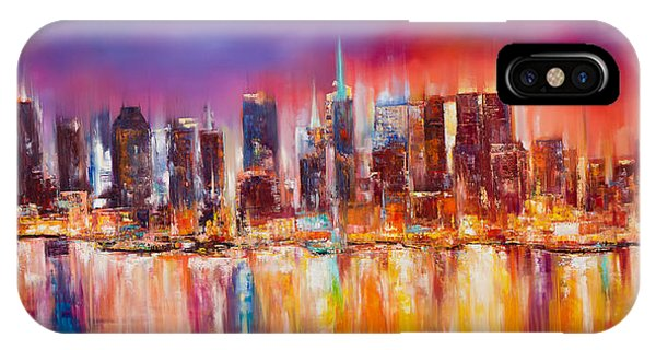 Empire iPhone Case - Vibrant New York City Skyline by Manit