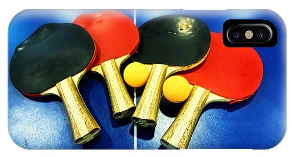 Vibrant Ping-pong Bats Table Tennis Paddles Rackets On Blue IPhone Case