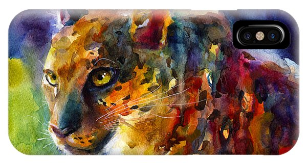 Vibrant Watercolor Leopard Wildlife Painting IPhone Case