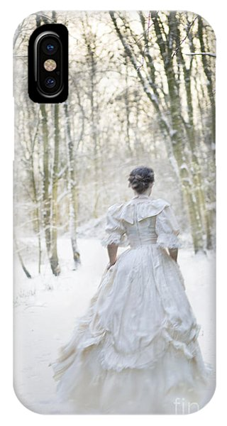Victorian Woman Running Through A Winter Woodland With Fallen Sn IPhone Case