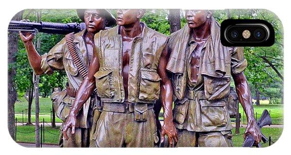 Vietnam War Memorial Three Servicemen Statue In Washington D.c. IPhone Case