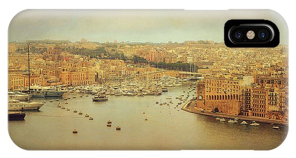 Panorama iPhone Case - View From Upper Barakka, Valletta, Malta by Ellen Van Deelen