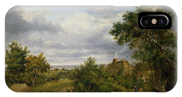 English Village iPhone Case - View In Hampshire, 1826 by Patrick Nasmyth