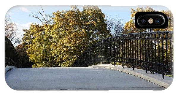 View Of Fall Trees From Footbridge - M Landscapes Fall Collection No. Lf21 IPhone Case