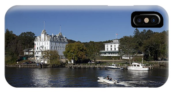 View Of Goodspeed Opera House In East Haddam  From The Connecticut Rive IPhone Case