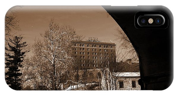 View Of Hotel Bethlehem From Colonial Industrial Quarter - Sepia IPhone Case