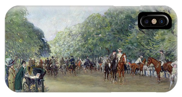 View Of Hyde Park With Figures On Rotten Row  IPhone Case