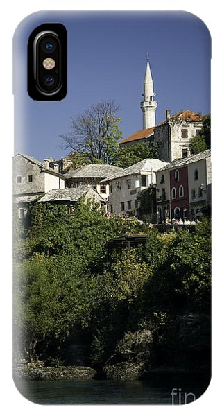 Mostar iPhone Case - view of Mostar in Bosnia Hercegovina with minaret bridge and river by Jacek Malipan