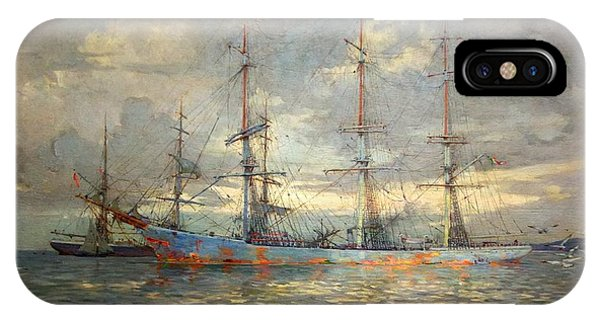 Schooner iPhone Case - View Of Schooners At Anchor In A Cornish Estuary by MotionAge Designs