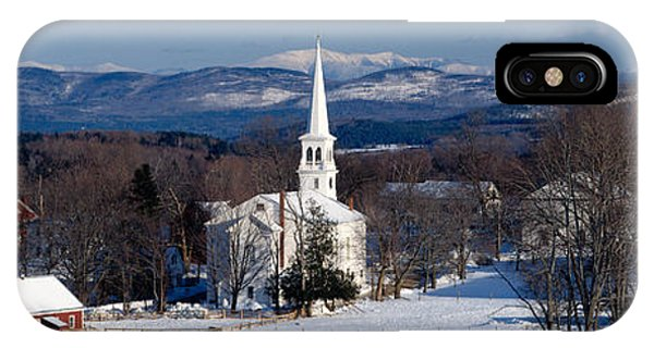 New England Barn iPhone Case - View Of Small Town In Winter, Peacham by Panoramic Images