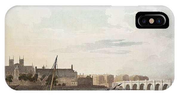 View Of Westminster And The Bridge Wc On Paper IPhone Case
