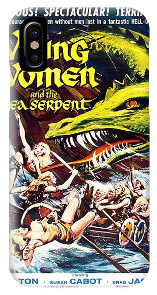 Serpent iPhone Case - Viking Women And The Sea Serpent Poster by Gianfranco Weiss