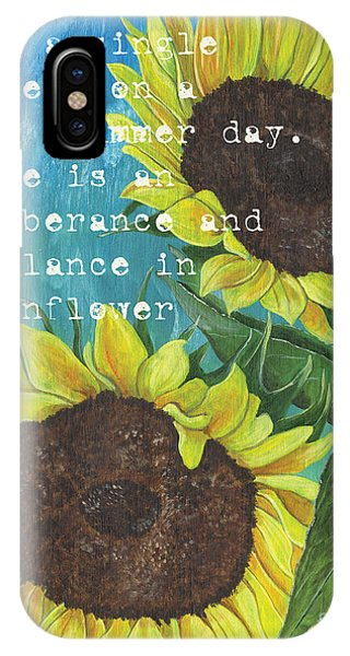 Sunflower iPhone X / XS Case - Vince's Sunflowers 1 by Debbie DeWitt