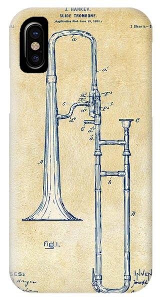 Trombone iPhone X Case - Vintage 1902 Slide Trombone Patent Artwork by Nikki Marie Smith