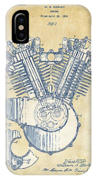 Patent Office iPhone Case - Vintage 1923 Harley Engine Patent Artwork by Nikki Marie Smith