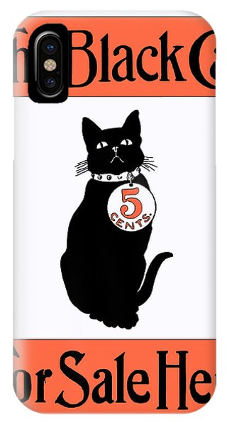 IPhone Case featuring the digital art Vintage Advertisement For The Black Cat Magazine by Joy McKenzie