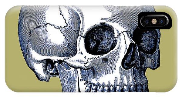 IPhone Case featuring the digital art Vintage Anatomic Skull by Joy McKenzie