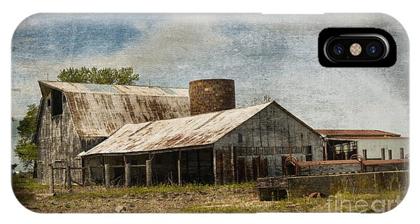 Barn -vintage Barn With Brick Silo - Luther Fine Art IPhone Case