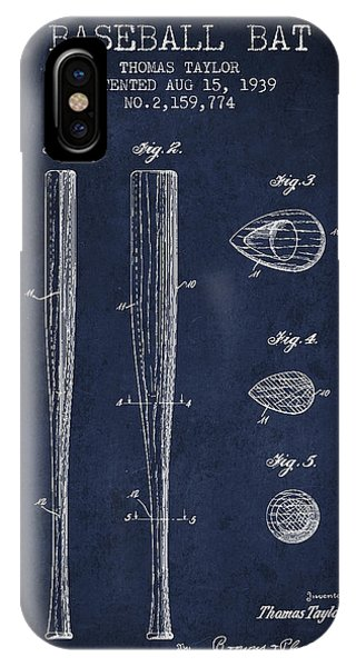 Baseball Bats iPhone Case - Vintage Baseball Bat Patent From 1939 by Aged Pixel