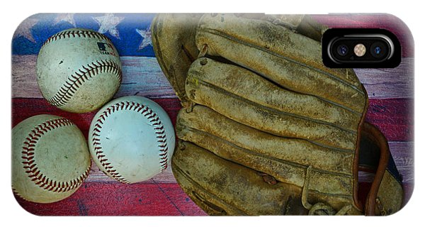 Vintage Baseball Glove And Baseballs On American Flag IPhone Case