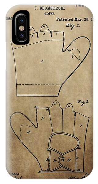 Vintage Baseball Glove Patent IPhone Case