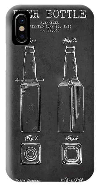 Beverage iPhone Case - Vintage Beer Bottle Patent Drawing From 1934 - Dark by Aged Pixel