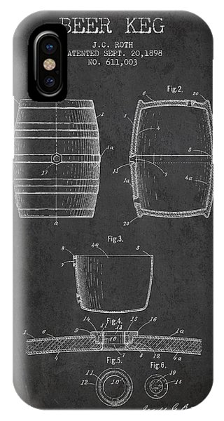 Patent Drawing iPhone Case - Vintage Beer Keg Patent Drawing From 1898 - Dark by Aged Pixel
