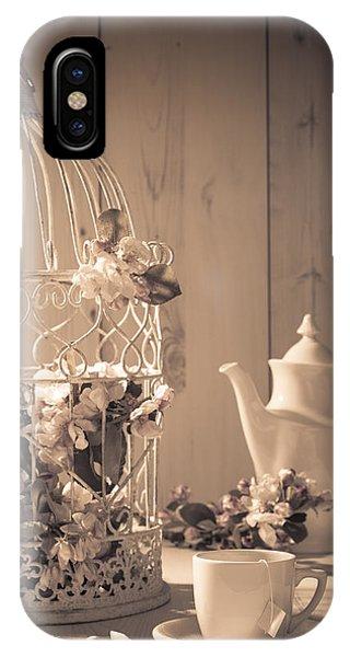 Saucer iPhone Case - Vintage Birdcage by Amanda Elwell