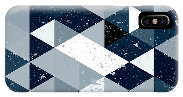 Futuristic iPhone Case - Vintage  Blue And White Triangle by Veronika M