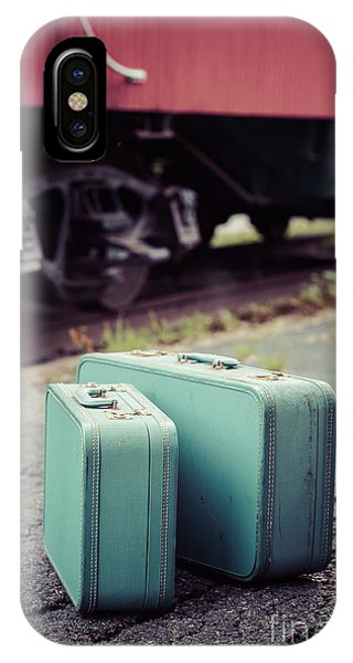 Railroad Station iPhone Case - Vintage Blue Suitcases With Red Caboose by Edward Fielding