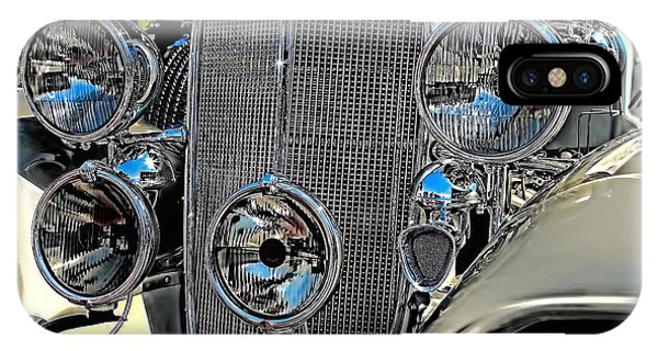 Vintage Car Art Buick Grill And Headlight Hdr IPhone Case