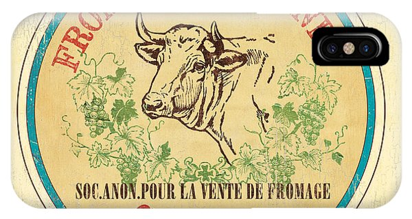 Cow iPhone X / XS Case - Vintage Cheese Label 1 by Debbie DeWitt