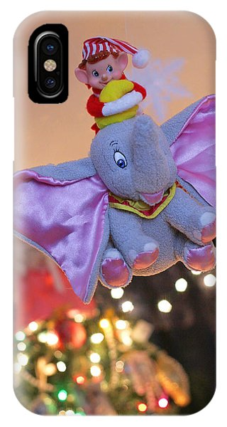 Vintage Christmas Elf Flying With Dumbo IPhone Case