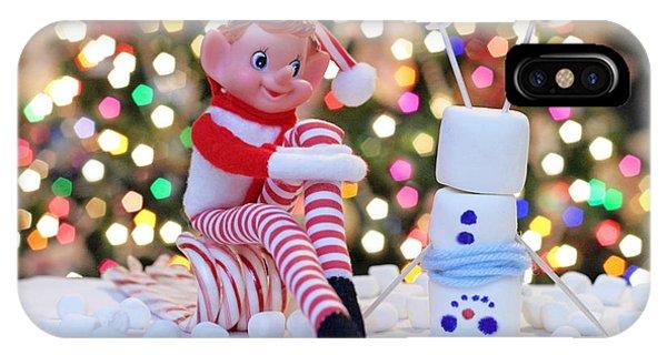 Vintage Christmas Elf Upside Down Snowman IPhone Case