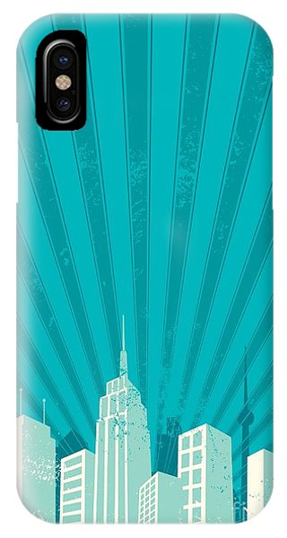 Office Buildings iPhone Case - Vintage City Background. A4 Proportions by Malchev