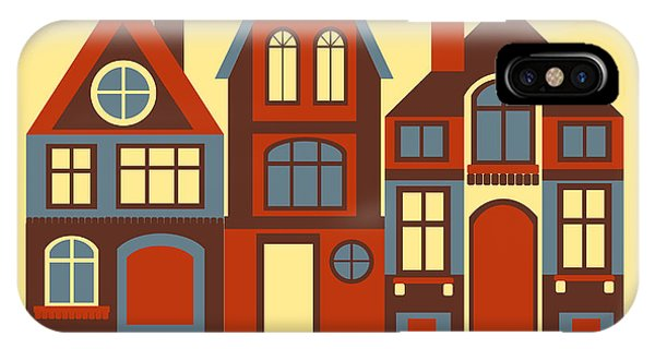 Cartoon iPhone Case - Vintage City Houses On Yellow Background by Okhristy