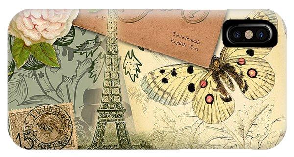 Vintage Eiffel Tower Paris France Collage IPhone Case