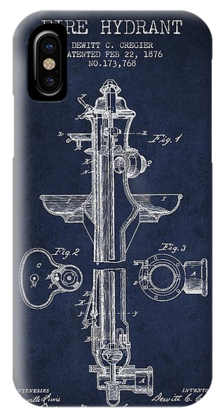 Vintage Fire Hydrant Patent From 1876 IPhone Case