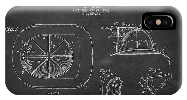 Vintage Firefighter Helmet Patent Drawing From 1932 IPhone Case