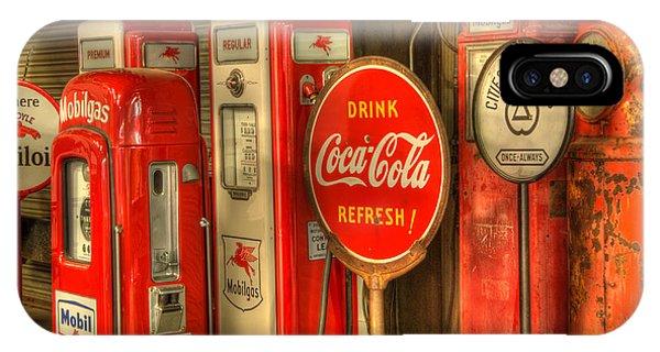 Vintage Gasoline Pumps With Coca Cola Sign IPhone Case