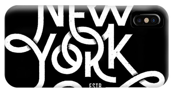 T Shirts iPhone Case - Vintage Hand Lettered Textured New York by Tortuga