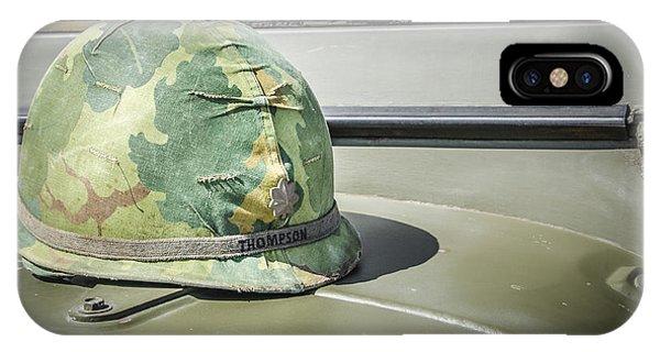 Vintage Helmet On Jeep Hood IPhone Case